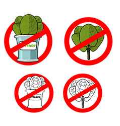 stop spinach prohibited green leaf lettuce red vector image vector image