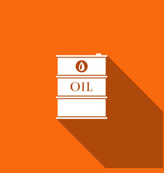 Barrel oil flat icon with long shadow vector