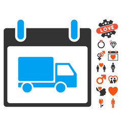delivery car calendar day icon with lovely bonus vector image vector image