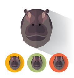 Hippo portrait with flat design vector