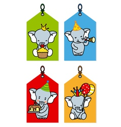 label with elephants having a party vector image vector image