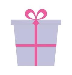 purple and pink gift box present ribbon vector image