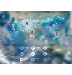 World map connection with blurred earth globe vector image vector image
