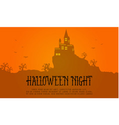 halloween greeting card with orange background vector image vector image