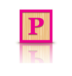 Letter p wooden alphabet block vector