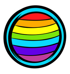Lgbt colors on button shape icon icon cartoon vector