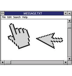 Nostalgic window including cursors vector