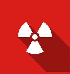 radiation flat icon with long shadow vector image vector image