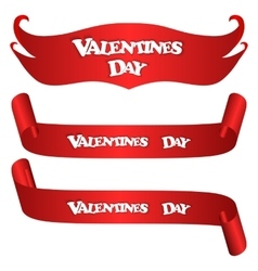 Set of three red horizontal banner With the vector image