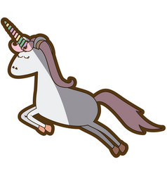 White background with cartoon unicorn jumping and vector