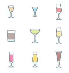 color outline alcohol glasses icon set vector image vector image