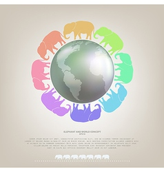 Elephant walk around the world concept background vector image vector image