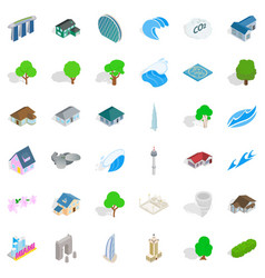 landscape element icons set isometric style vector image