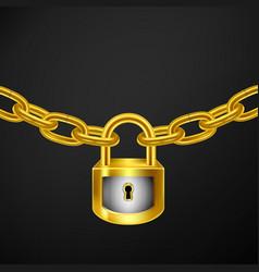 lock chain gold vector image