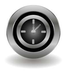 Metallic clock button vector image