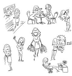 Set of sketchy woman vector image vector image