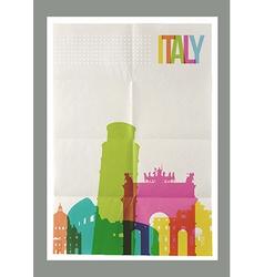 Travel Italy landmarks skyline vintage poster vector image vector image