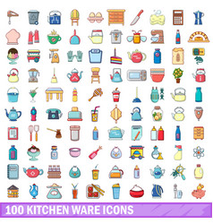 100 kitchen ware icons set cartoon style vector