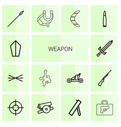 14 weapon icons vector