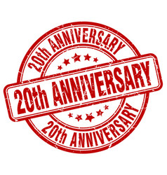 20th anniversary red grunge stamp vector
