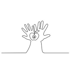 Abstract hands holding apple continuous one line vector