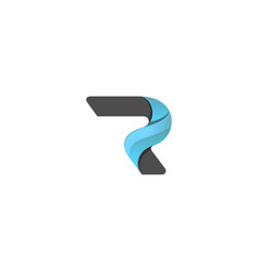 Abstract letter r 3d logo vector