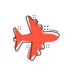 airplane sign icon in comic style airport plane vector image