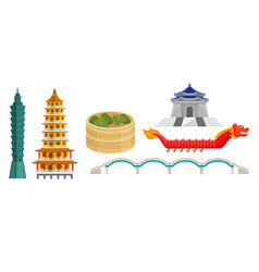 ancient chinese architecture and modern building vector image
