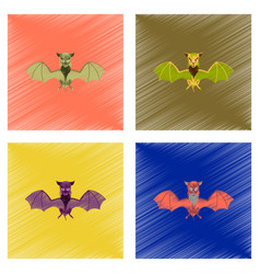 assembly flat shading style icon cute bat vector image