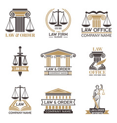 badges of law and legal hammer of judge legal vector image