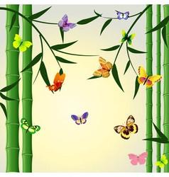 bamboo butterflies background vector image