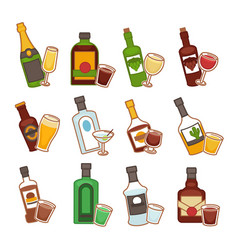bar alcohol drinks bottles and glasses isolated vector image