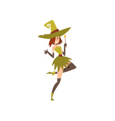 Beautiful witch with magic wand charming witch vector