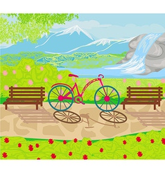 Bicycle stands in the park between the benches vector