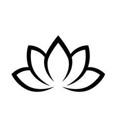 Black calligraphic lotus blossom yoga symbol vector