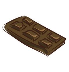 black chocolate bar on white background vector image