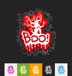Boo paper sticker with hand drawn elements vector