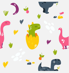 Brigt seamless pattern with cute dinos vector