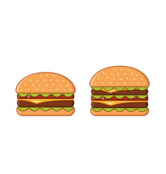 burger icons in flat line art design vector image