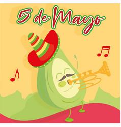 Cartoon a mexican trumpeter avocado vector