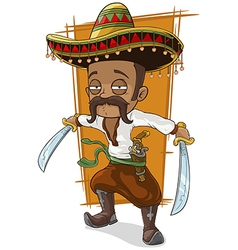 Cartoon funny mexican bandit with vector