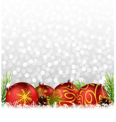 christmas background with ball and fir on the snow vector image