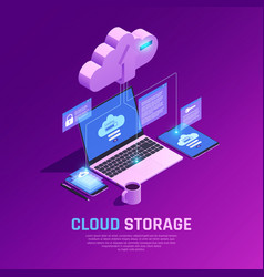 Cloud workspace isometric background vector