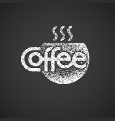 coffee lettering with cup isolated on black vector image