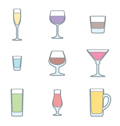 color outline alcohol glasses icon set vector image