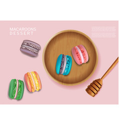 Colorful macaroons bowl realistic 3d vector