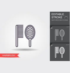 comb and hair brush line icon with editable vector image
