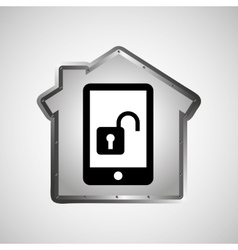 Computer data protection smartphone icon vector