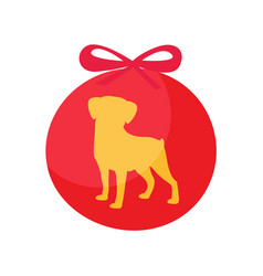 Decorative ball dog silhouette symbol of new year vector