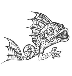 Detailed medieval decorative engraved fish vector